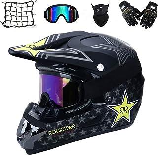 VOMI Motorrad Crosshelm mit Brille 5 Stück - Schwarz/Rockstar - Adult Motocross Helm Erwachsener Off Road Fullface MTB Helm Mopedhelm Motorradhelm für Damen Herren Sicherheit Schutz,L