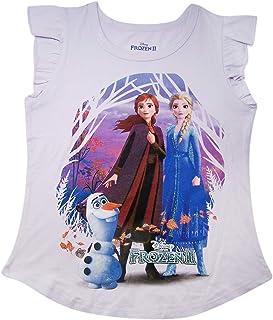 Frozen Disney 2 Girl's Purple Flutter Sleeve Tee Shirt