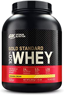 Optimum Nutrition Gold Standard 100% Whey Protein Powder, Banana Cream, 5 Pound ,Packaging May Vary
