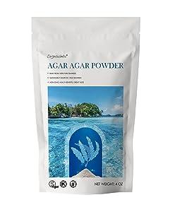 Agar Agar Powder 4 Oz Raw from 100% Pure Seaweed,Vegan Cheese Powder,Gelatin Powder for Baking,Vegetarian Gelling Agent,Flakes,Thickener,Petri Dishes,4 Oz
