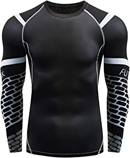 GDJGTA Tops for Mens Casual Fitness Fast Drying Elastic Breathable Sports Tight Long Sleeve Tops