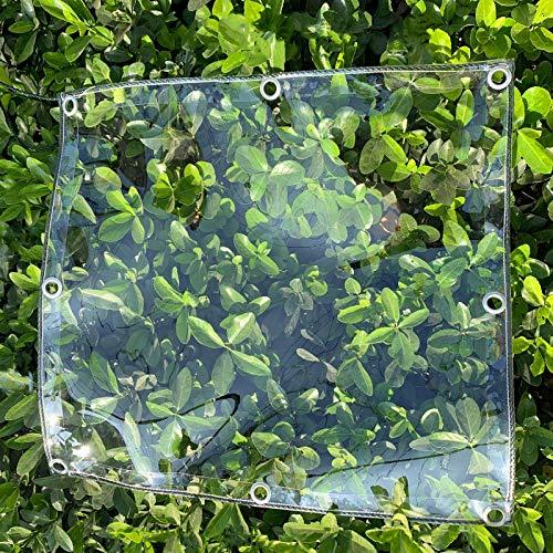 HUAZIYU Lona Transparente para Jardín Impermeable 0.35mm PVC Tela de Plástico,Anti Congelación Película Prueba de Viento A Prueba de Lluvia Toldo de Aislamiento,Cubierta de Plantas(1.5x2m/4.9x6.6ft)