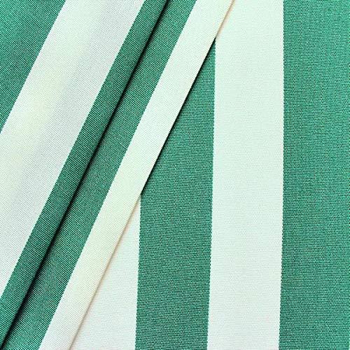 STOFFKONTOR Outdoor Stoff Markisenstoff - Outdoorstoff Meterware wasserabweisend - Sonnenschutz Stoff Blickdicht und farbecht - Grün-Weiss