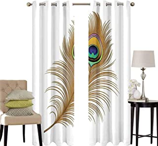 hengshu Peacock Decor Curtains for Sliding Glass Door Illustration of Peacock Bird Feather Magical Wild Nature Decorative Image Print Room Decor Blackout Shades W42 x L36 Inch Mustard Green Navy