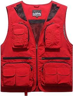 Men's Summer vest Men's Multi-Pocket Fishing Thin Outdoor vest Quick-Drying vest Breathable mesh vest (Color : Red, Size : XXXXL)