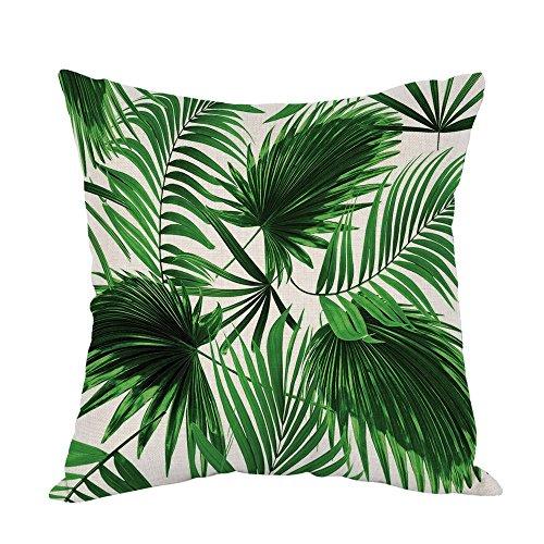 YISUMEI Kissenbezug Kissenhülle 50x50 cm Home Decor Dekokissen Fall Sofa Werfen Kissenbezüge Pillowcases Realistische lebendige Blätter der Palme