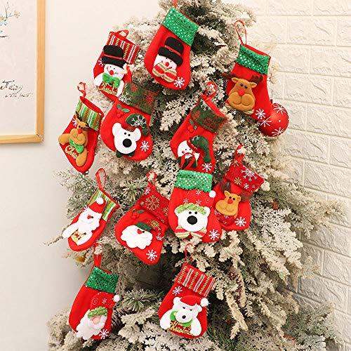 Gudotra 12pcs Medias Navidad Bolsa de Regalos para Calcetin de Navidad Decoraciones para Árbol de Navidad Envoltura Regalo Decoración Caramelos