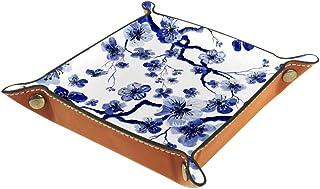 BestIdeas Panier de rangement carré 20,5 × 20,5 cm, avec fleur de prunier bleu, boîte de rangement sur table pour la maiso...