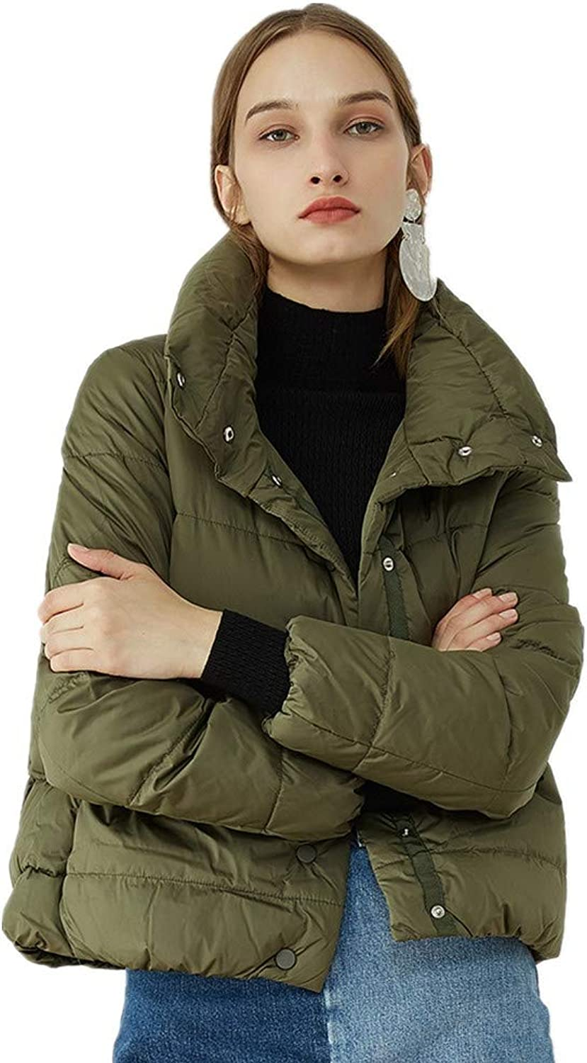 SIMPLE-H Women's Winter Short Down Jacket Fashion Lapel Ladies Casual White Duck Down Warm Jacket
