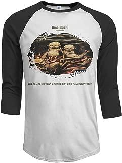 JeremiahR Limp Bizkit Chocolate Starfish and The Hot Dog Flavored Water Men's 3/4 Sleeve Raglan Baseball T-Shirt Black