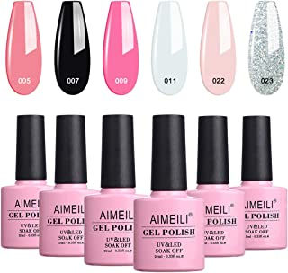 AIMEILI French Tips Gel Nail Polish Kit, White Clear Nude Pink Glitter Black Gel Color Polish Set Soak Off Nail Lacquer Co...