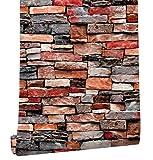 HaokHome 61030 Papel Tapiz Adhesivo de Piedra de Imitación, Papel Pintado de Color Rojo/Tan Multi Rústico,Papel de Contacto Prepintado 17.7'x 19.7ft