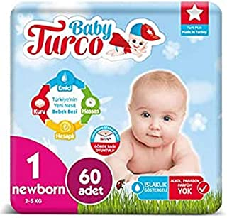 Baby Turco BBTR100000 – Nappies for Babies, Ultra Comfort and Protection, Newborn (2-5 kg) – 60 Units, Pack of 60