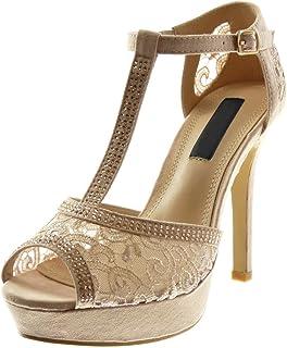 bde9f40c9e8a5d Angkorly - Chaussure Mode Escarpin Sandale Stiletto salomés Peep-Toe Femme  Strass Diamant Dentelle Talon