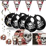 COM-FOUR® : Ensemble de 33 tasses, assiettes, serviettes de table, fanions, ballons, et accessoires de décoration pour Halloween, anniversaire, fête à thème (033 pièces - ensemble Halloween)