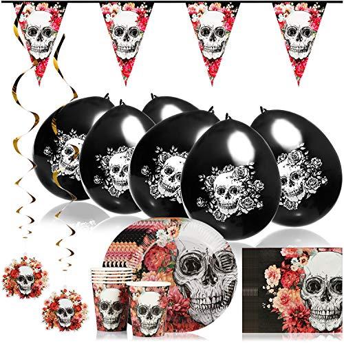 COM-FOUR® 33 piezas Juego de tazas, platos, servilletas, banderines, globos y espirales de, vajilla de fiesta y juego de decoración para Halloween, cumpleaños, fiesta (033 piezas - Set de Halloween)