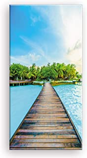 Beach Canvas Wall Art for Corridor, PIY Vertical Wharf Bridge to Tropical Island Picture with Blue Sky, Modern Relax Prints Artwork Aisle Decor (1