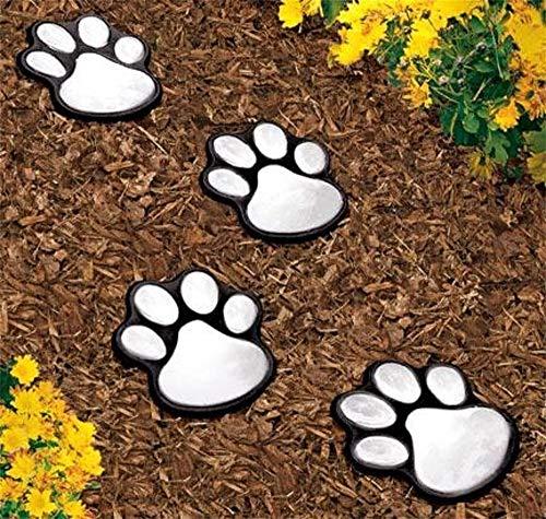 goodjinHH Print Solar Gartenleuchten, Solarbetriebene 4LED-Leuchten - Hund Welpen Haustier Tier Pfoten Design Outdoor-Landschaft Beleuchtung Für Rasen-Dekor (Kaltweiß)