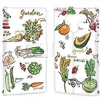 LG K50 (802LG) 用 スマホケース 手帳型 カードタイプ [オーガニック・ガーデン Garden] イラスト ベジタブル エルジー ケーフィフティー SoftBank スマホカバー 携帯ケース スタンド [FFANY] garden 00k_149@03c