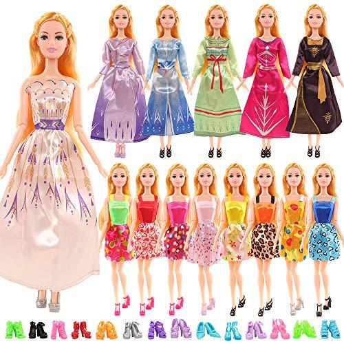 Miunana 20 accesorios de ropa para muñecas = 10 vestidos de moda + 10 zapatos para muñecas de niña de 30 cm.
