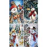WT-DDJJK 4 Pezzi 5D Kit Pittura Diamante Fai da Te Natale Pupazzo di Neve Trapano Strass Ricamo Punto Croce Decorazioni per la casa