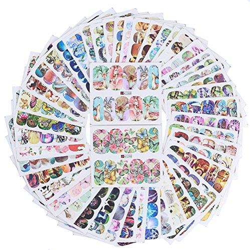 AIUIN 50 Piezas Pegatina de Uñas Francesas Guías de Clavar Tip Pegatinas Conjunto con Diferentes Formas para Uñas de Manicura,6.4 * 4.9cm