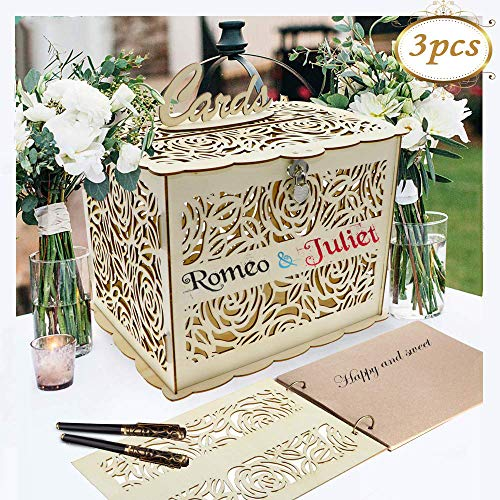 Coodoo Wedding Decorations Card Box and Guest Book Roses Wooden Card Holder Money Box with Security Heart Lock Rustic Supplies for Reception Wedding Baby Shower Birthday Graduation Anni