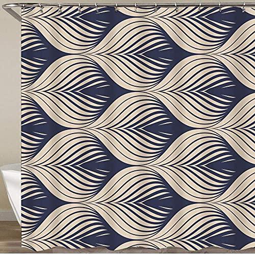 Cortina de ducha impermeable, textura de azulejo de patrón geométrico de formas u hojas de pez o pez Squama, cortinas de baño de tela de poliéster duradera con 12 ganchos, decoración de baño para el h