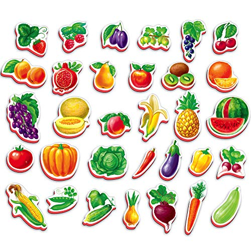 Roter Kafer Refrigerator Magnets for Kids Fruits, Vegetables 32 pcs - Magnets for Toddlers Age 3 - Kids Magnets - Magnetic Shapes - Magnetic Toys - Toddler Magnets - Educational Toys - Learning Toys