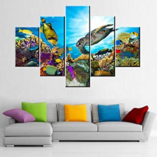 Undersea Canvas Art Wall Decor Coral and Many Fishes Pictures Marine Life Painting 5 Panel Wall Art for House Deep Blue Oc...