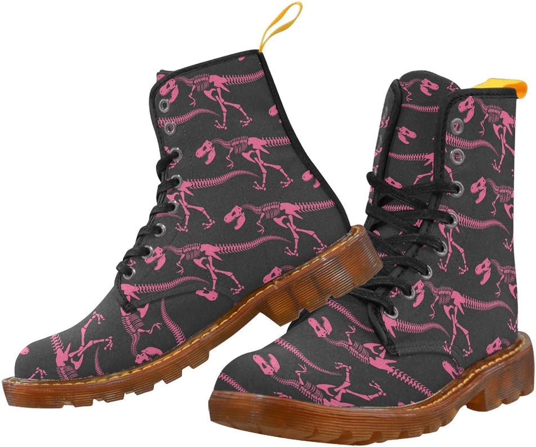 InterestPrint Women's Lace Up Boots Dinosaur Bones Canvas Martin Boots Combat Ankle Booties shoes