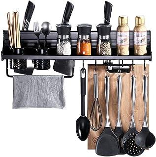 YJKDM Support d'assaisonnement de Cuisine en Aluminium pour Espace Domestique Simple, Support Multifonctionnel Mural, Supp...