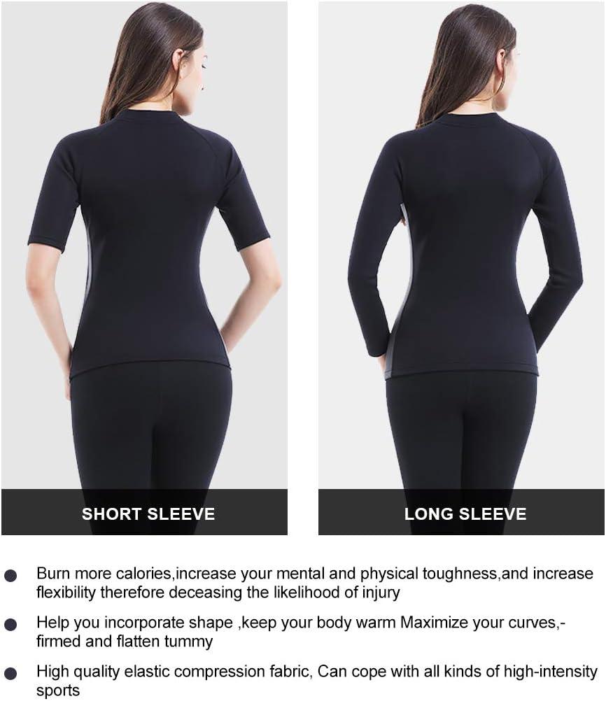 Novasoo Damen Abnehm Neopren SCR Sweat Sauna Anzug Taille Trainer Reißverschluss Weste Korsett Body Shaper Mantel(MEHRWEG) Short sleeve