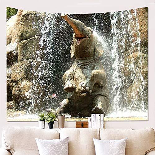 BATOHOME Tapicería Sofa, Tapices De Pared Etnicos, Poliéster Tapiz Yoga Suelo, Tapiz De Jardin Bebé Elefante marrón Tapiz 150x230CM