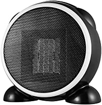 BEIAKE Calentador De Ventilador Eléctrico Humanizado Manija Diseño Mini Calentador PTC De Cerámica De Calentamiento Rápido Estufa Caliente Inicio Silencioso Dormitorio Oficina Negro 110-220V
