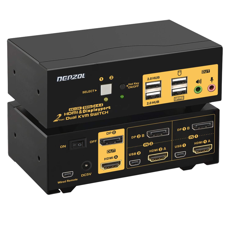 2 Port KVM Switch Dual Monitor 4K safety DEPZO + HDMI DisplayPort Indefinitely 60Hz