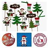 molinoRC 12x Weihnachtszahnstocher Weihnachten Zahnstocher Party Cocktailfähnchen Cocktailstäbchen Häppchen Party Fahne Cakepops Nikolaus Schneemann Weihnachtsbaum          