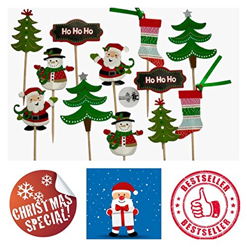 molinoRC 12x Weihnachtszahnstocher Weihnachten Zahnstocher Party Cocktailfähnchen Cocktailstäbchen Häppchen Party Fahne Cakepops Nikolaus Schneemann Weihnachtsbaum | | | | |