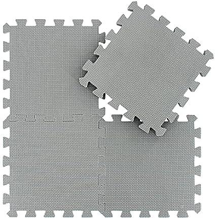 Alfombra Puzzle para Niños Bebe Infantil - Suelo de Goma EVA Suave. 25 Piezas (30 * 30 * 1cm), Gris. QQC-Lb25N