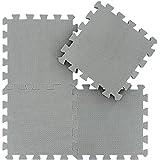 qqpp Alfombra Puzzle para Niños Bebe Infantil - Suelo de Goma EVA Suave. 18 Piezas (30 * 30 * 1cm), Gris. QQC-Lb18N
