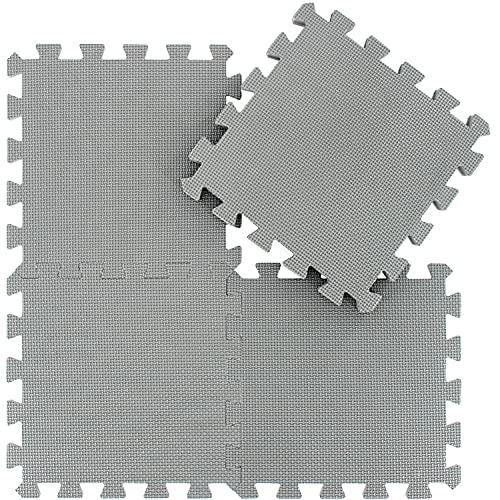 qqpp Tappeto Bambini Puzzle con Certificato CE in Morbido Gomma Eva | Tappeti da Gioco per Bambina | Tatami. 18 Pezzi (30 * 30 * 1cm), Grigio. QQC-Lb18N