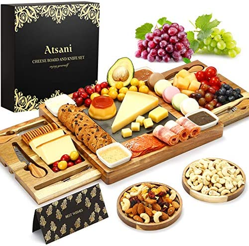 Cheese Board Set Knife Set Wood Charcuterie Boards Cheese Tray with Cutlery in Double Slide product image