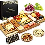 Cheese Board Set & Knife Set,Wood Charcuterie Boards,Cheese Tray with Cutlery in Double Slide-Out Drawer,Cheese Plates for Charcuterie,Wine,Crackers, Brie,Meat,Gift for Valentine,Wedding,Housewarming