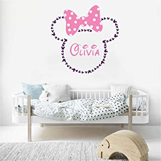 Wikaus Mickey Minnie Mouse Wall Art Decal Sticker Minnie Mouse Head Silhouette Simple Style Wall Stickers Kids Room Personalised Name Girl Bedroom