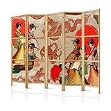 murando - Biombo XXL Geisha 225x171 cm 5 Paneles Lienzo de Tejido no Tejido Tela sintética Separador Madera Design de Moda Hecho a Mano Deco Japón p-B-0027-z-c
