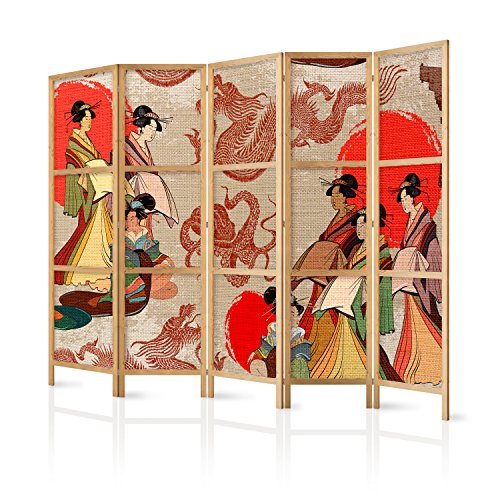 murando - Biombo XXL Geisha 225x171 cm 5 Paneles Lienzo de T