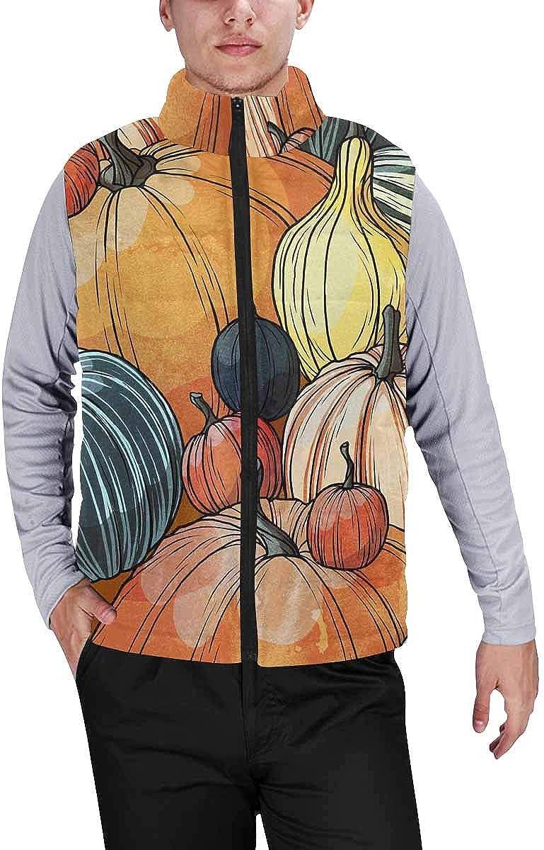 InterestPrint Men's Casual Sleeveless Coats with Personality Design Autumn Pumpkin Pattern