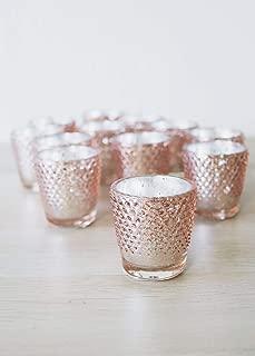 Floral Home Rose Gold Mercury Glass Hobnail Votive Cup - 2.75