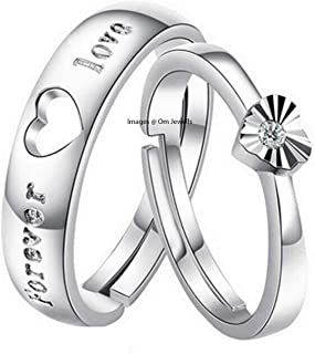 0c56209744 Om Jewells White Brass Rhodium Plated Heart Couple Ring for Women and Men