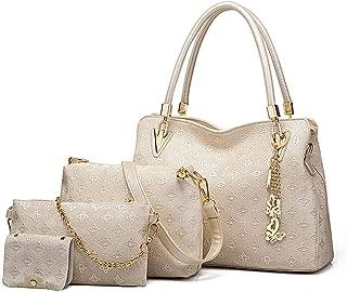 Handbag for Women Tote Satchel, 4pcs Shoulder Bag Purse Set, Top-Handle Satchel Large Crossbody Bag,Beige